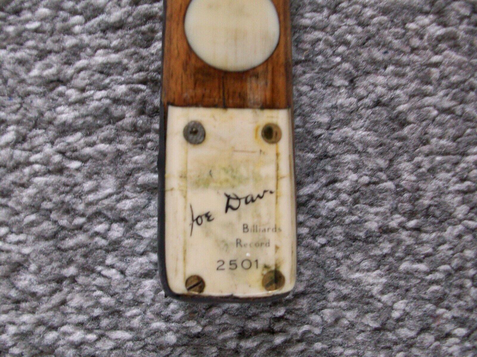 JOE DAVIS SNOOKER CUE (ONE PIECE) MEMORABILIA -- BILLIARDS RECORD 2501