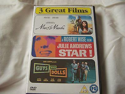 GUYS AND DOLLS MARLON BRANDO FRANK SINATRA STAR JULIE ANDREWS MAN OF LA 3 X DVD ()