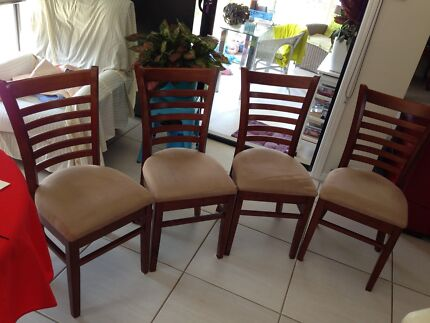 4 timber dining chairs with mocha micro suede seats
