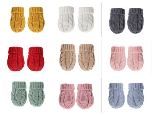 BABY INFANT KNITTED CABLE MITTS MITTENS BOY GIRL NB-12 MONTHS