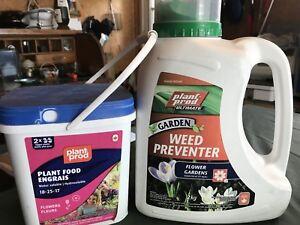 Pots d'engrais et mauvaise herbe neuf