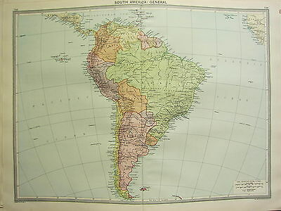 1920 LARGE MAP ~ SOUTH MAERICA PERU ARGENTINA BRAZIL COLOMBIA FALKLAND