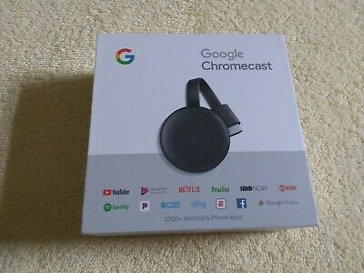 GOOGLE CHROMECAST 3RD GENERATION BLACK STREAMING HDMI - PERFECT!