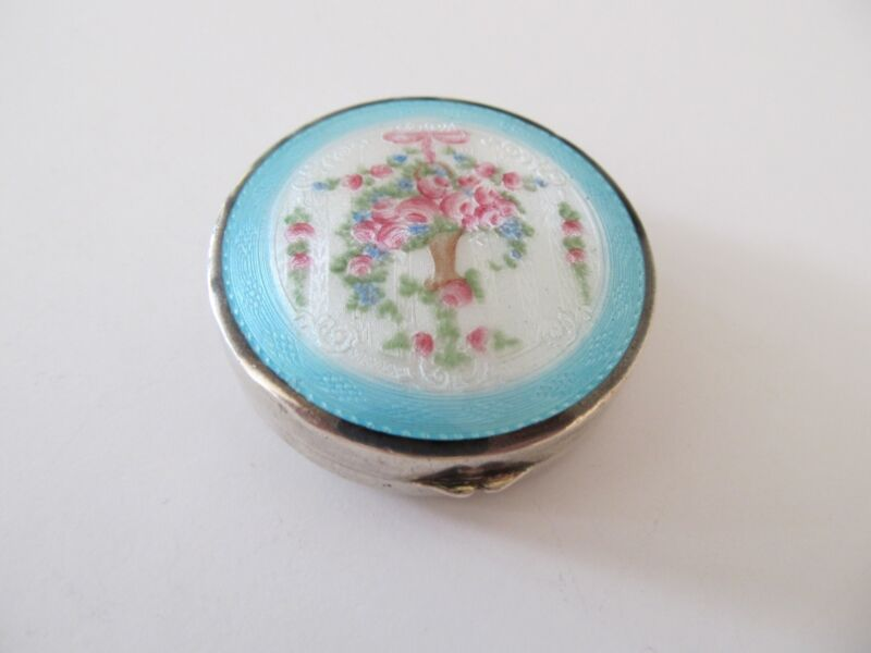 SILVER BOX GUILLOCHE ENAMEL LID FLORAL CHATELAINE COMPACT PATCH PILL SNUFF BOX