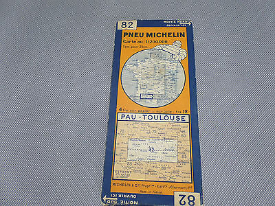 Card Michelin No 82 Pau-Toulouse 1929/Collector Bibendum Vintage