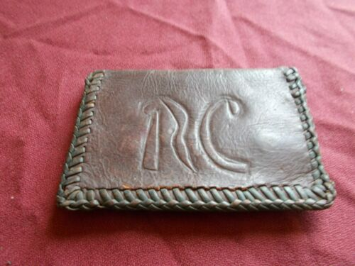 VINTAGE CHANGE PURSE COIN CASE SNAP ENGRAVED RC EMBOSSED MONGRAMED TOOLED WALLET