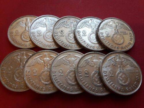 1-WW2 German 🇩🇪 2 Mark Silver Coin Third Reich With Large Swastika Reichsmark