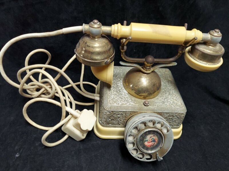 Vintage French Style Ornate Gold Rotary Phone Made in Singapore