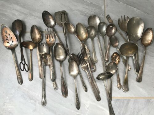 Lot 30+ Silverplated Flatware Mixed Spoons Tongs Server + Italy Figural Spoons