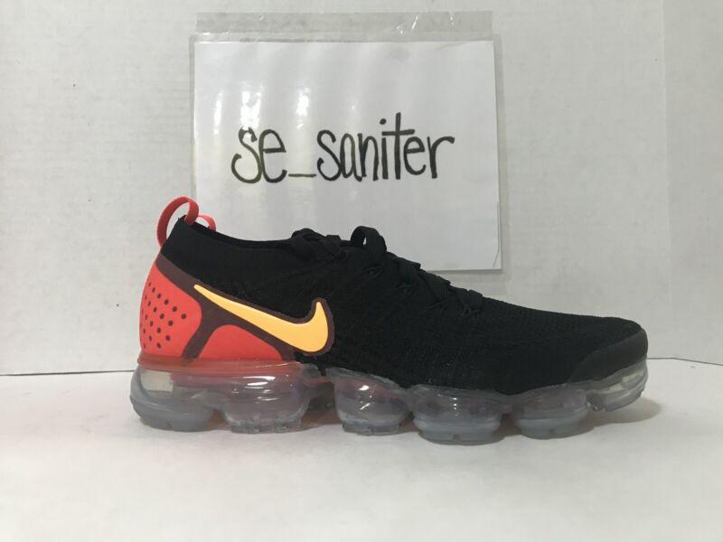 1cf5445ae54ff Nike Air Vapormax Flyknit 2 Black Laser Orange Red 942842-005 Men s Size 14