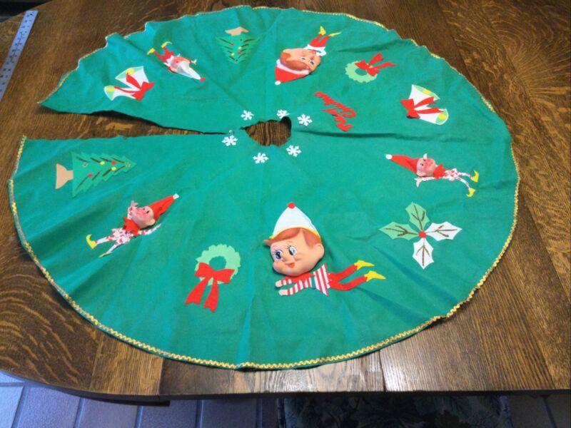 """Vtg GREEN FELT PIXIE ELF Christmas TREE SKIRT / 1950s ERA  Japan 39"""""""
