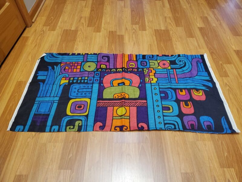 Awesome RARE Vintage Mid Century retro 70s 60s bright wild abstract fabric! LOOK