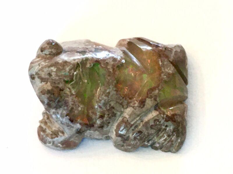 """ZUNI ~ Boulder OPAL ~ Hand Carved ~ Frog FETISH ~ 1.75"""" X 5/8"""""""