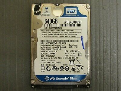 "Western Digital WD Scorpio Blue 640GB 2.5"" SATA Laptop Hard Drive WD6400BEVT for sale  Shipping to Nigeria"