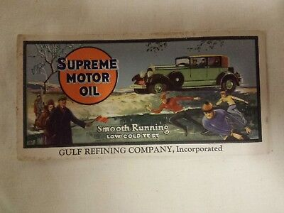 1920s GULF OIL REFINING COMPANY SUPREME MOTOR OIL PROMOTIONAL AD TRADE CARD