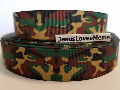 Grosgrain Ribbon Army Camo Camouflage Outdoor Sports Country Hunting 7/8