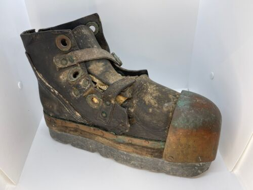 Early 20th century Siebe Gorman diving boot. Constructed of leather Lead  Brass