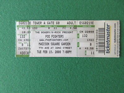 FOO FIGHTERS 2008 MADISON SQUARE GARDEN TICKET STUB