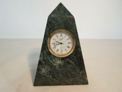 "Elegance Quartz Desk Clock / Paperweight 4 1/2"" Pyramid Shape Solid Green Marble"