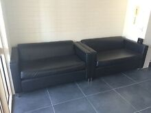 Pair black leatherette/PVC lounges Fortitude Valley Brisbane North East Preview