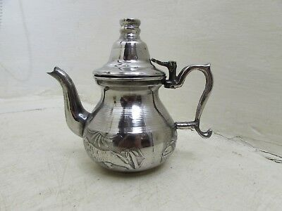 Antique Silver Plated Persian / Islamic Hunting Scene Tiger Deer Decor Teapot