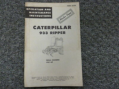 Caterpillar Cat 933 Ripper Owner Operator Maintenance Manual Sn 59d1-up