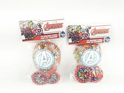 Best Brands Marvel Avengers Superhero 2 Packs Of 24 Cupcake Liners And Toppers - Superhero Cupcake Liners