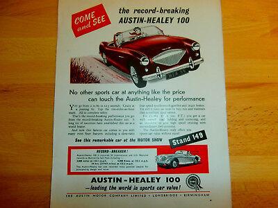 Austin Healey 100 . ORIGINAL ADVERT. COLOUR  1955