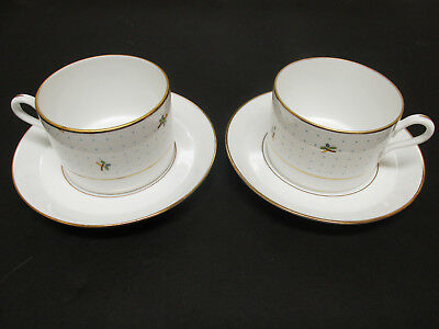 Richard Ginori Set of 2 Coffee Demitasse Cups Saucers Blue Dots Flowers