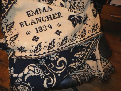 Antique Blue & White Coverlet 1839 Emma Blancher As Is