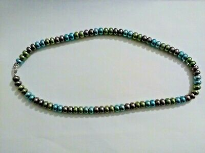 HONORA PEARL NECKLACE WITH MULTI COLOURED PEARLS & STERLING SILVER FASTENER