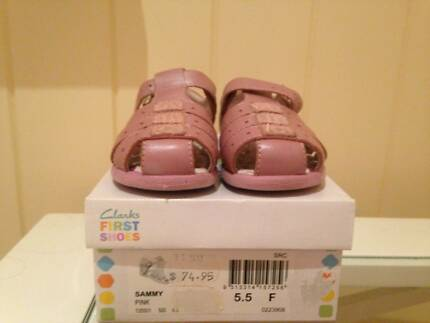 Clarke's First Shoes Pink Leather Size 5.5 Fit F with box Grange Brisbane North West Preview
