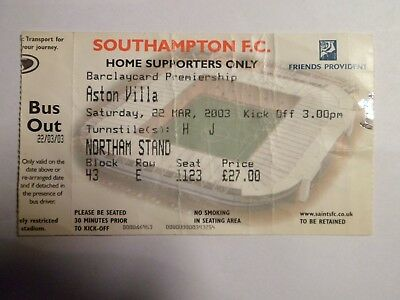 Southampton FC - Aston Villa - 22/03/2003 - Ticket football