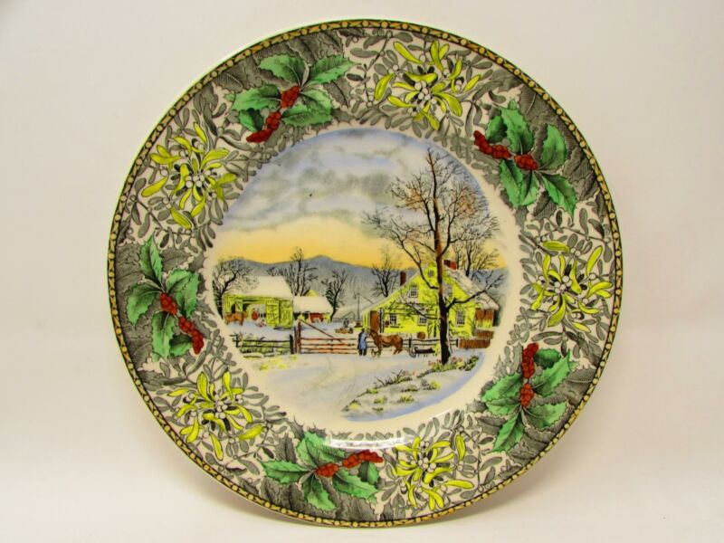 Winter Scenes Black Multicolor by Adams China Dinner Plate New England Winter