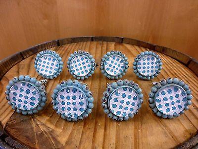 Garden Drawer Pulls - 8 BLUE SUN FLOWER GLASS DRAWER CABINET PULLS KNOBS VINTAGE chic garden hardware