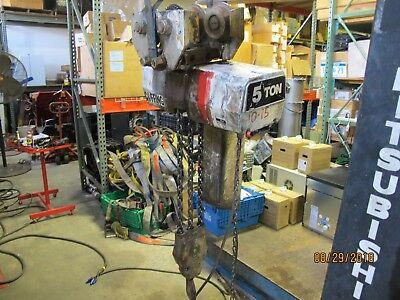 Coffing 5 Ton Electric Chain Hoist Ec-10008-3 15 Foot Lift 460v-3 Phase