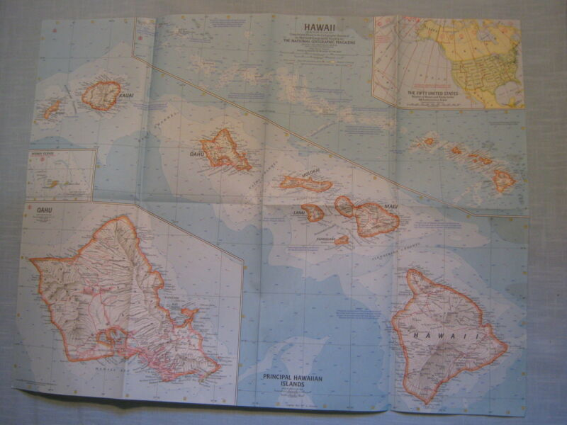 VINTAGE HAWAII MAP National Geographic July 1960 MINT