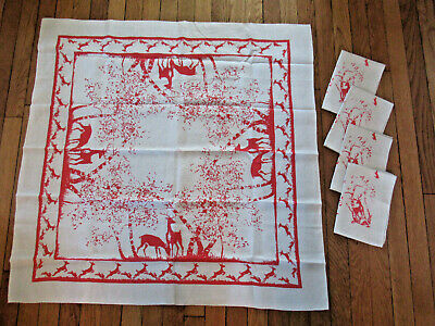 50's VTG Rare Linen Tablecloth w/ 4 Napkins Deer Rabbits Red Ivory Christmas