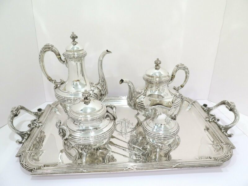 5 piece + tongs 950 Silver Antique French Rose Ribbon Decorated Tea/Coffee Set