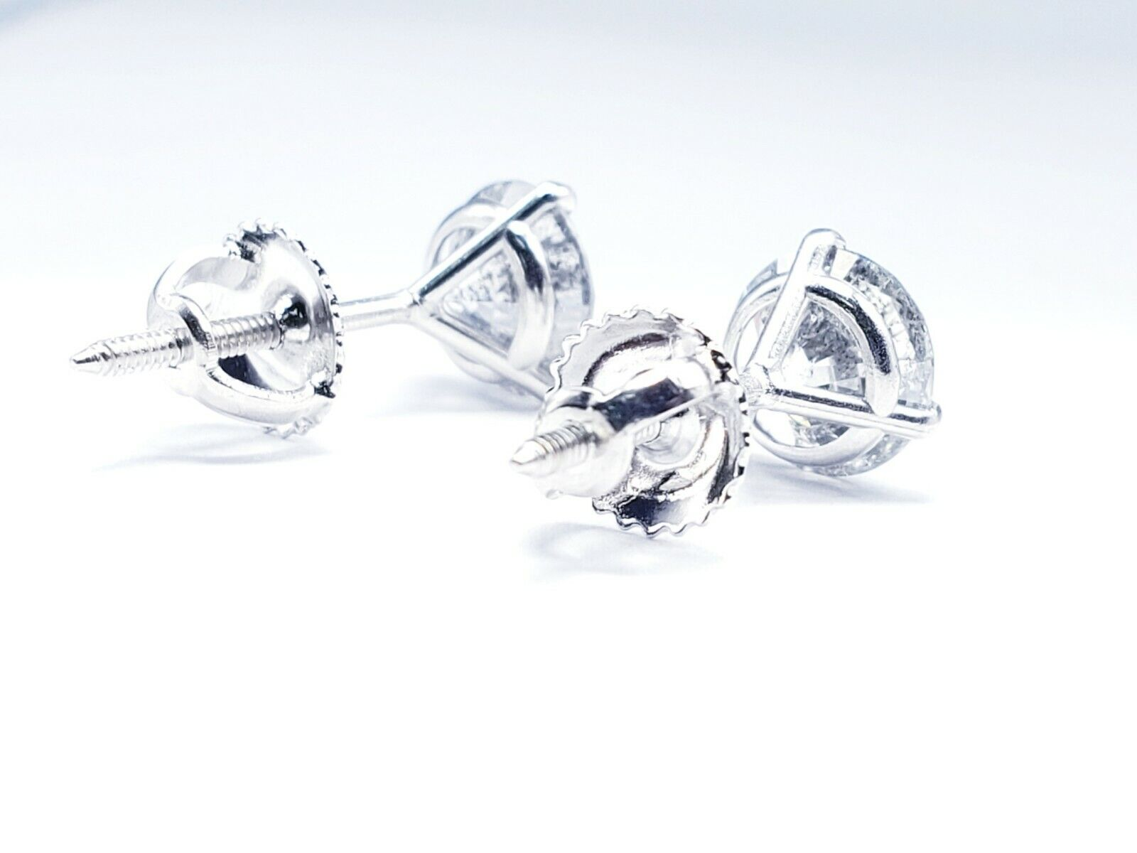 Round Brilliant Natural Diamond Studs Earrings 2.14ctw GIA Appraisal F Color SI3 6