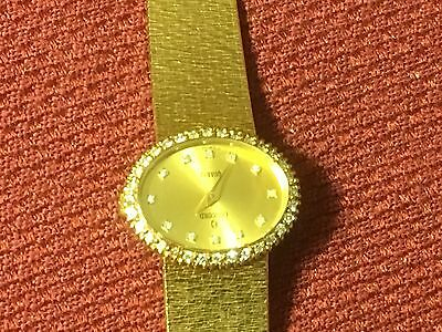 AUTHENTIC CONCORD QUARTZ 14K GOLD DIAMOND DIAL BEZEL LADIES WATCH