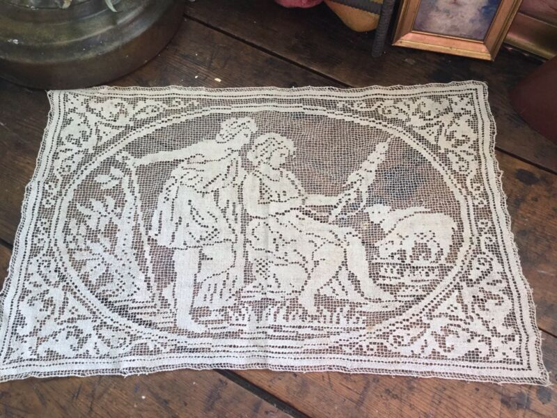 Antique Vintage Crocheted Lace Table Runner Doily with Figures & Lambs