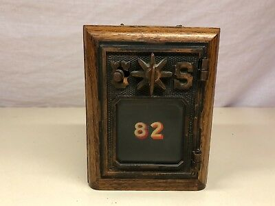 Old Vtg Wood Wooden Post Office Box Bank Coin Still Piggy With Combination (Wooden Piggy Banks)