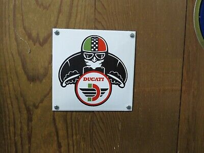 """Vintage Ducati Door Push Sign Square 4 3/4"""" x 4 3/4"""" Unusual and Cool"""