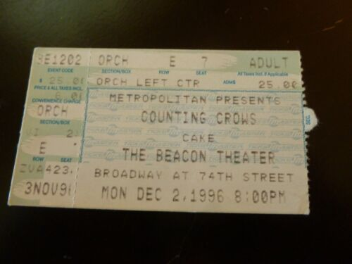 Counting Crows with Cake  Concert Ticket Stub 1996 Beacon Theatre NYC
