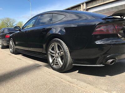 Para Audi A7 Lateral Faldón Rendimiento Carbono Cuchillas Cubierta Del Alfeizar