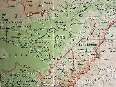 1921 LARGE MAP ~ CENTRAL AFRICA WESTERN SECTION ~ SPANISH GUINEA ANGOLA CAMEROON