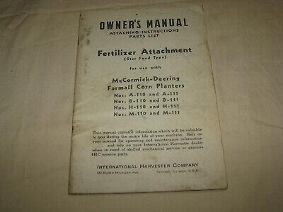 Vintage Owners Manual 6 Mccormick Deering Farmall Corn Planters Fertilizer