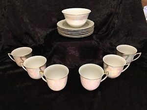 RGK China - A bowl, 6 small plates and Teacups - Mint