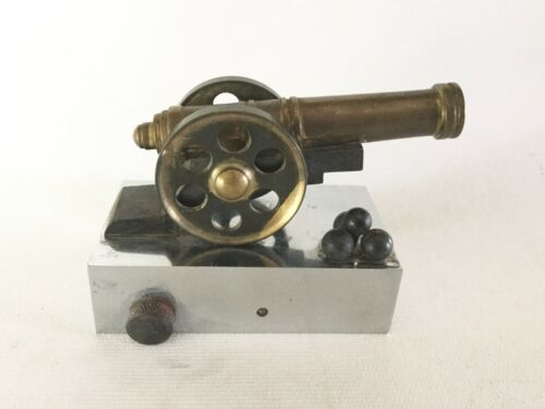 Vintage Brass Miniature CANNON w/ Cannonballs & Chrome Cap Base
